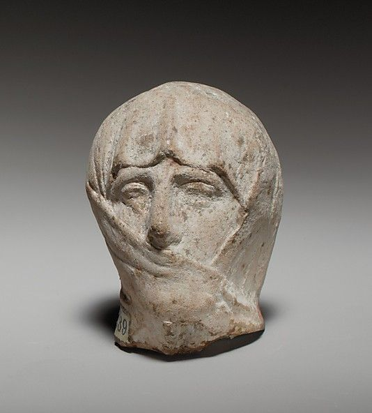 ❤ - Terracotta head of a veiled woman  Period: Cypro-Classical II Date: 4th century B.C. Culture: Greek Medium: Terracotta Dimensions: H. 2 1/16 in. (5.3 cm) Classification: Terracottas Credit Line: The Cesnola Collection, Purchased by subscription, 1874–76 Accession Number: 74.51.1494