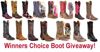 Win your choice of any boot we sell. Ends June 30, 2015. You may enter once each day. (up to $325 in value) We Love our Fans!