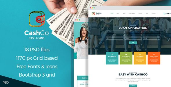 CashGo - Fast Loan Financial Company PSD Template by mwtemplates CashGo is a cool new PSD template that was crafted specially for those looking for a solution for fast cash loan companies, financ