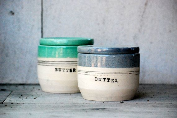 French butter crock ceramic butter keeper lidded by claylicious