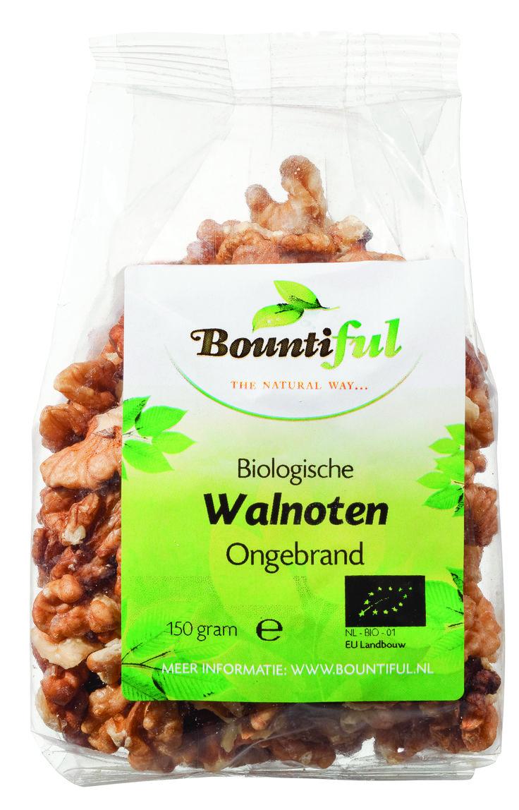 Walnoten Bio. Eigenlijk zijn walnoten geen noten maar vruchten. Een steenvrucht om precies te zijn, net als de abrikoos, de kers, de perzik en de pruim.   Walnoten worden wereldwijd in allerlei gerechten verwerkt, bijvoorbeeld in salades, gebak, brood en sommige Franse kazen. Walnoten worden nooit gebrand.