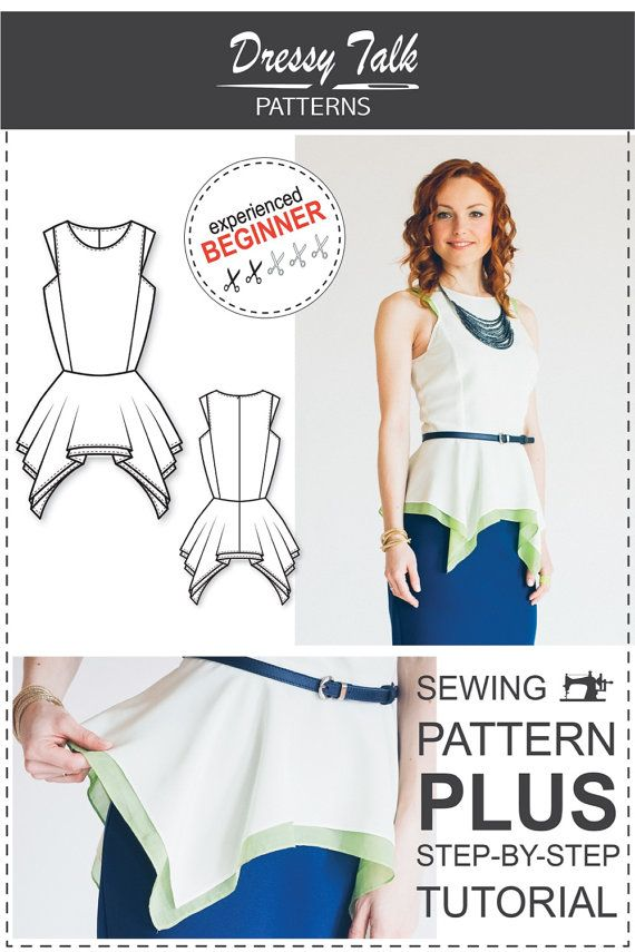 PDF Sewing Pattern for Women - Peplum Top Sewing Pattern - Peplum Top Sewing Tutorial