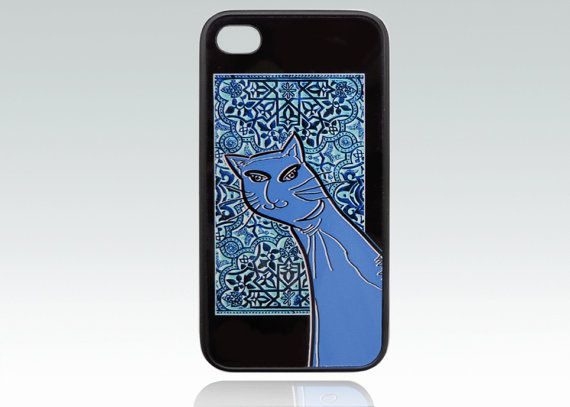Blue Cat iPhone 4 case,  funny cat iPhone 4s cover, orient iPhone 4, 4s case…