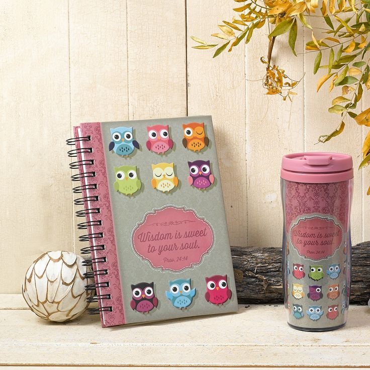"Hardcover Wirebound Journal / Notebook  ""Wisdom is Sweet""  Pink and Brown  - Proverbs 24:14 Owls  * 6 x 8.50 * 192 Lined Pages * 1"" Spiral Coil * Glossy Embossed Cover Design * Presentation Page for Gift-Giving   PRICE: R100 per Journal."