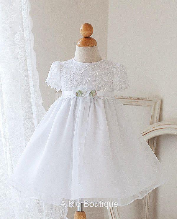 New Baby Flower Girls Lace White Dress Baptism Christening Easter + Free Bow #DressyHolidayPageantWedding