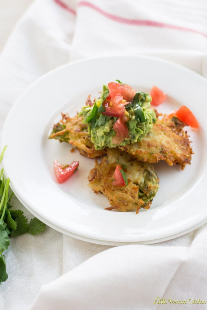 Hatch Chile Latkes with Hatch Guacamole via LittleFerraroKitchen.com