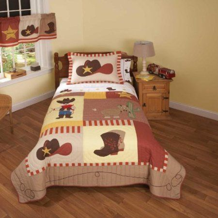 If your little one loves playing a cowboy, then they will love this Cowboy Bedding Set by Pem America. This Cowboy Bedding Set is a quilt that is hand crafted with 100% natural cotton face cloth and fill that is prewashed for that out of the bag comfort.