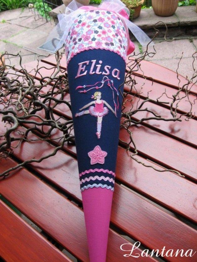 """ausgefallene Schultüte """"Ballerina"""" (incl. Rohling!)  andere Stoff/Farbzusammenstellung möglich! Der Stoff ist NICHT geklebt und den Schultütenbezug kann man später als Kissen benutzen!  mit..."""