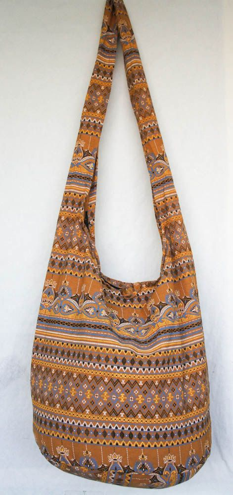 YAAMSTORE THAI brown flora hobo hippie boho bag sling by yaamstore