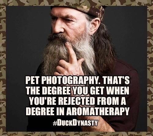 Strangely enough, Phil has a Master's Degree. (but not in pet photography, obviously)Dynasty Ducks Command, Pets Pics, Pet Photography, Ducks Dynasty, Peanut Oil, Duckdynasty, So Funny, Law Schools, Pets Photography