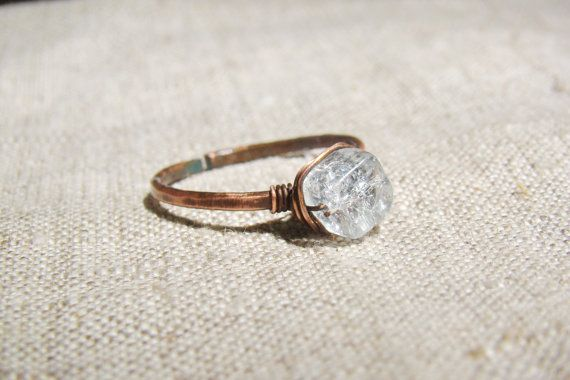 Quartz ring, simple ring, primitive organic jewelry, gemstone ring, white crystal jewelry