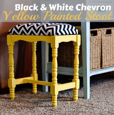 Chevron Stool by @Beckie Farrant {infarrantly creative} #MichaelsFabric