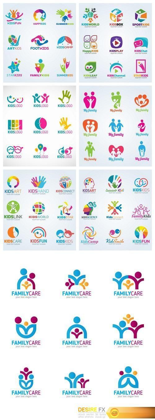 Find your Grapfix Desire With US http://www.desirefx.me/kids-child-logo-vector-set-design-7x-eps/