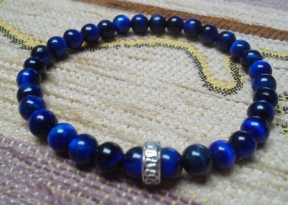 Men's bracelet - Agate beads - blue Tiger's Eye (6 mm)