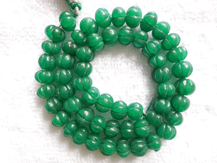 """10"""" long strand Green Quartz Carved Round Beads,Mughal Carved Melon Beads,Carvin Beads,Jewelry making beads by InternationalByBeads on Etsy"""