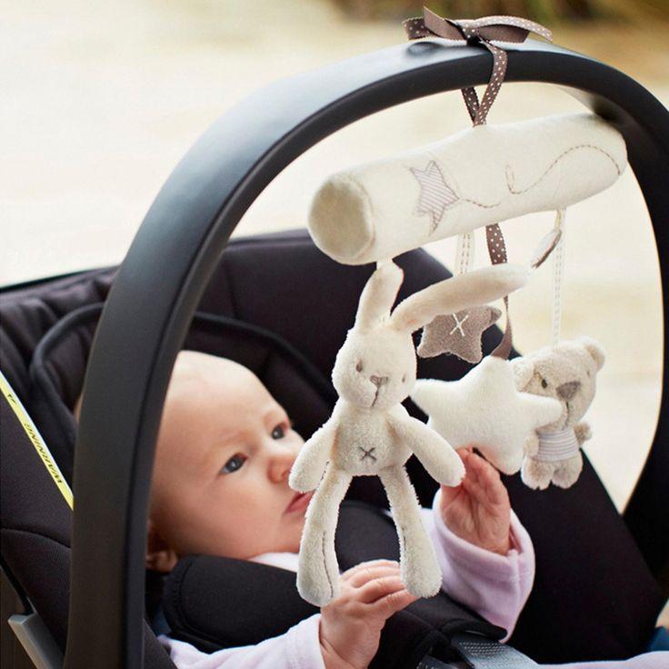 クリエイティブ乳幼児クレードルかわいいウサギの赤ちゃん音楽ぶら下げベッド安全シートぬいぐるみハンドベル多機能ぬいぐるみ