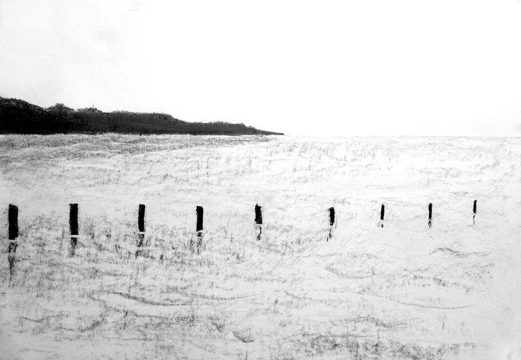 Morze, 50x70cm, brystol, carbon