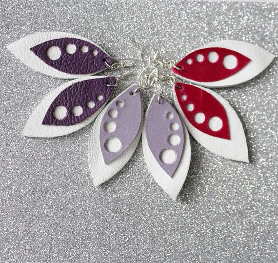Leather Earrings Pink and White Leather Earrings White and