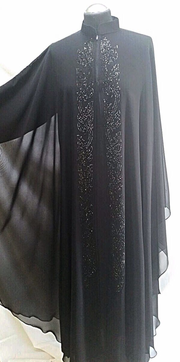 Joint two piece cloak style abaya with collar and black diamanté work. Stunning!  Size 54.  Ref:24