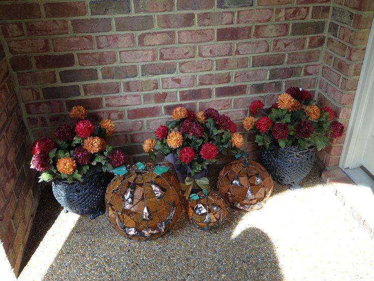 Silk potted arrangements by Carol Jones