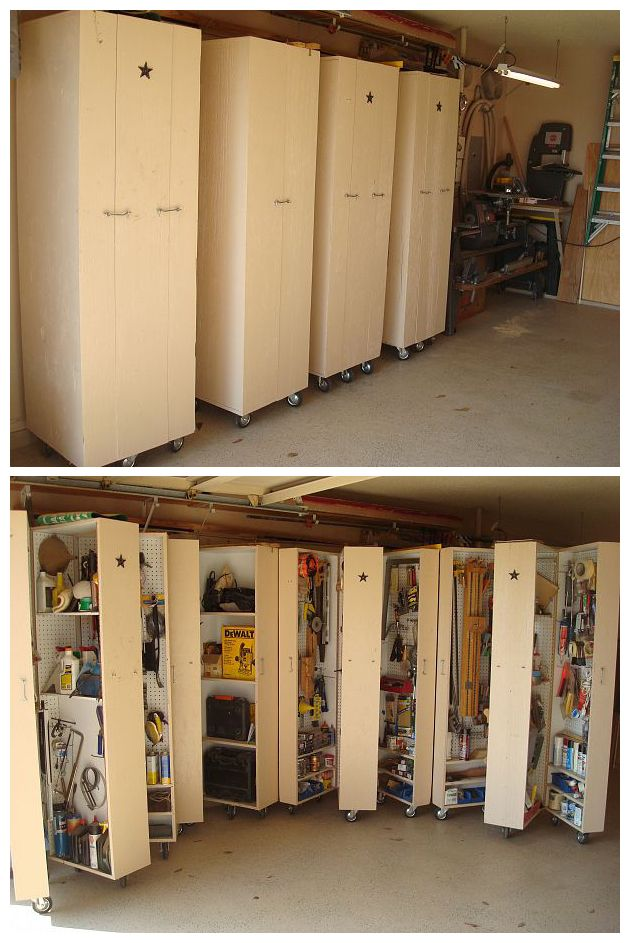 Homemade rolling cabinets to organize all the tools in the garage