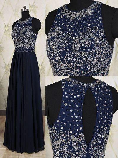 dark navy Prom Dresses,long prom dress,charming prom Dress,beaded prom dress,2017 evening dress,BD2804