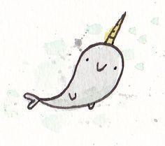 cute narwhal drawing