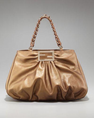 cf88c3b840 NWT Authentic  2320 FENDI BORSA MIA Large Leather Shoulder Bag Bronze Gold