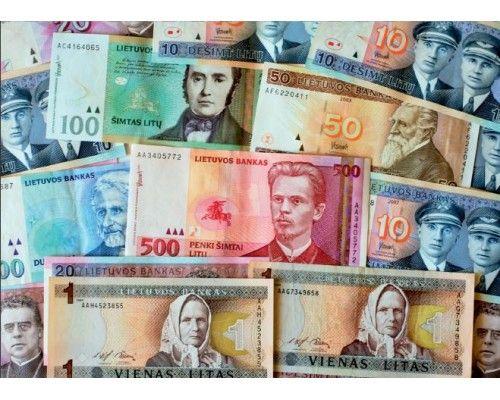 Postcard Lithuanian money