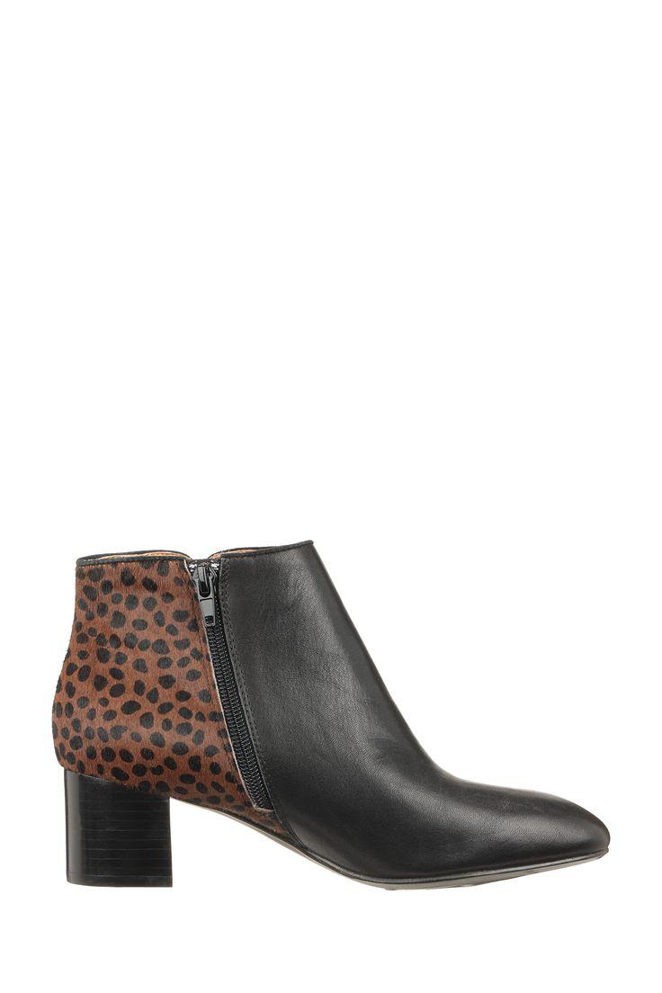 Bottines cuir noires imprimées léopard Tamarine