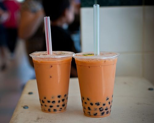 boba tea - thai milk, from lollicup