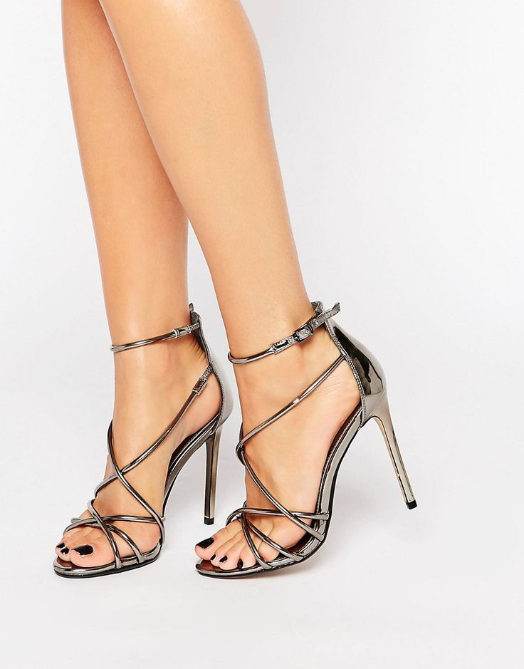 Image 1 ofOffice Spindle Pewter Metallic Strappy Heeled Sandals