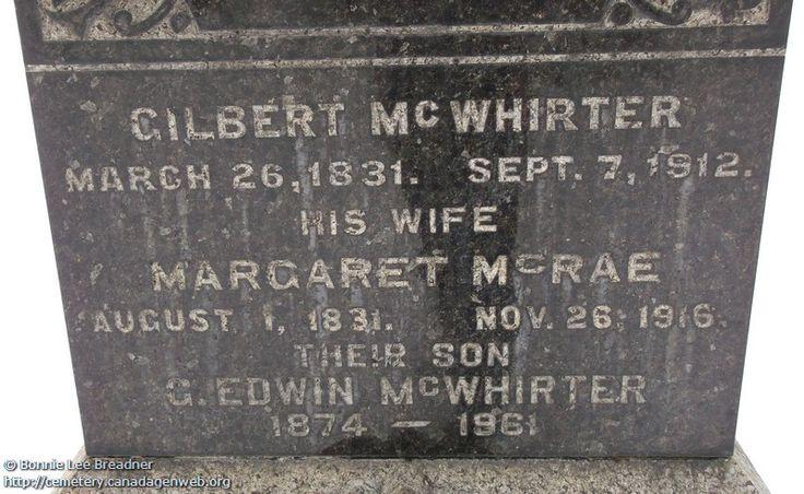 ON: Thornbury & Clarksburg Union Cemetery (Margaret (McRae) McWHIRTER), CanadaGenWeb's Cemetery Project