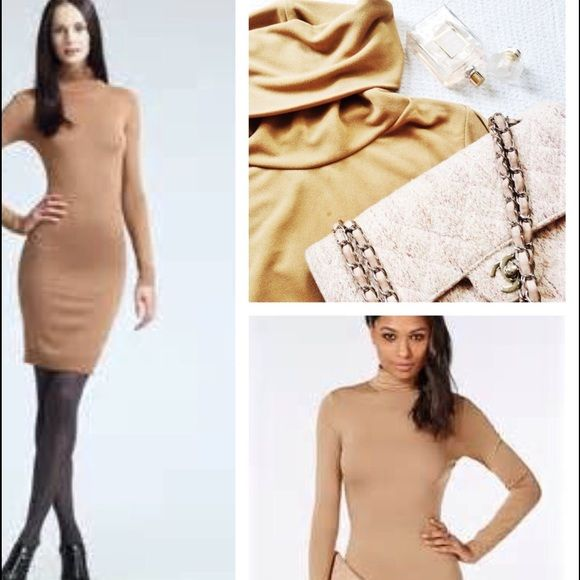 Long sleeve Beige mini Dress REDUCED Try the smart casual daytime look that easily transitions to night with this sleek camel rolled neck fitted dress. A closet staple! This UK brand is comparable to Missguided, River Island, Zara and Topshop. 95% polyester 5% elastane. Ticketed UK 12, fits a US 4-6. *CHANEL flap bag sold in other listing* NO TRADES. Happy Poshing! Pretty Little Thing Dresses Mini