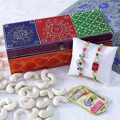 Kundan Work Rakhi with Wooden Dry Fruit Box Kaju