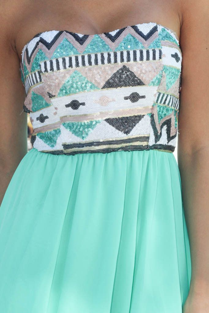 Mint Short Dress With Sequin Top | Sequin Dress – Saved by the Dress