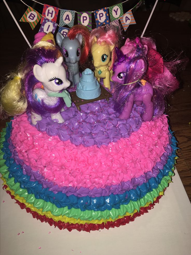 """My daughter wanted a MLP birthday party. She placed her """"Mane Six"""" how she wanted them placed. She wanted a rainbow cake with Pinkie Pie pink and pink sprinkles crystals."""
