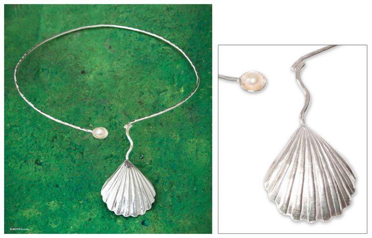 Cultured pearl choker - Scallop Shell | NOVICA