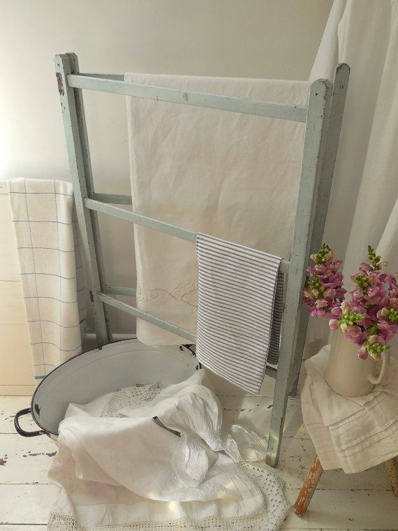 Folding vintage washing airer clothes horse or towel by EmmaAtLHV
