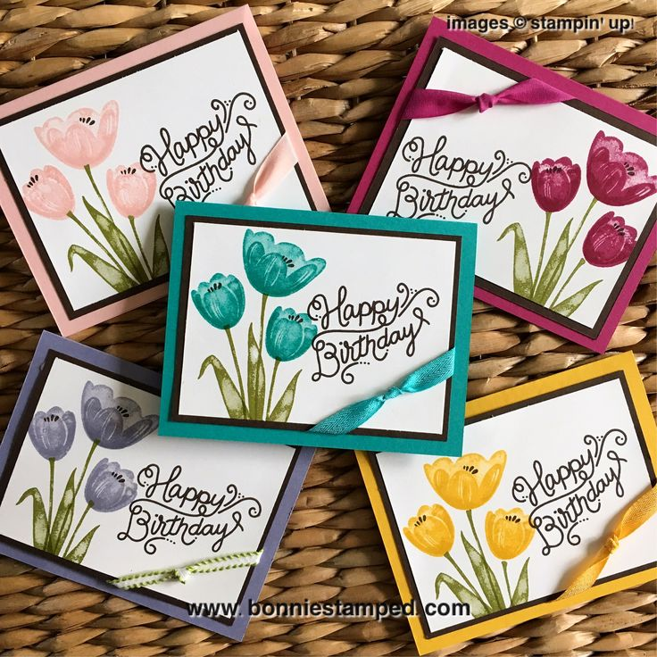 I had a lot of fun creating my birthday card featuring the Tranquil Tulips Stamp Set in a variety of colors! The two-step tulips look fabulous in any color!