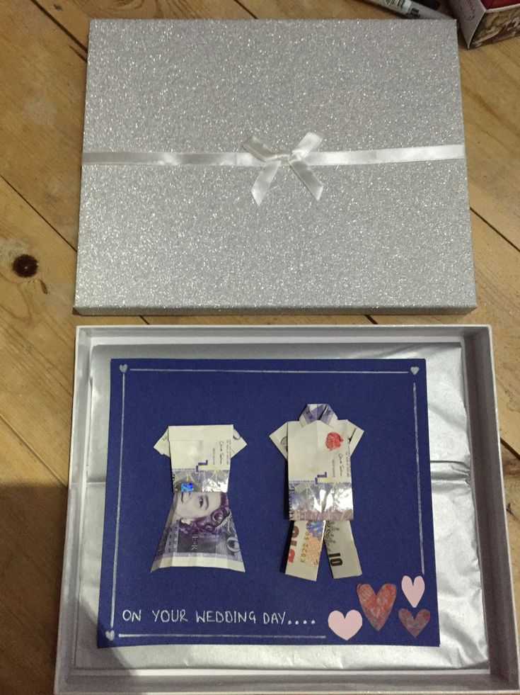 Wedding gift idea Creative way to give money to the bride and groom.  Origami dress, trousers and shirt with £10 and £20 notes. Can be mixed and matched with different notes. A personalised wedding gift.