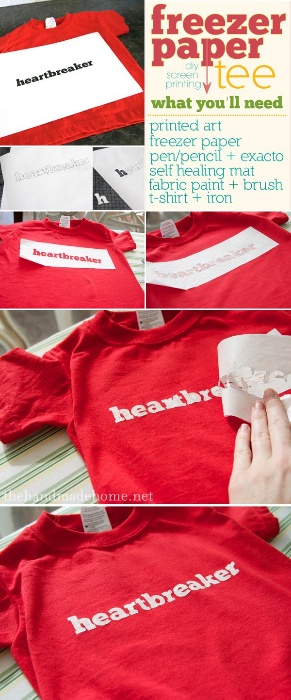 DIY screenprinting T-shirts or pillows.