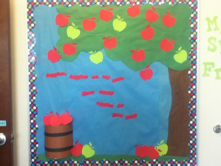 Apple Bulletin Board! The words say Apples, apples, on my tree, how many apples do you see? I had my students count the apples all the time!