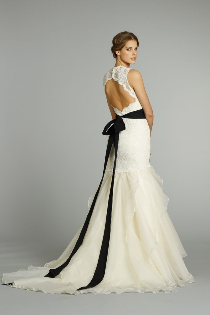 Jim Hjelm Ivory Silk Organza Modified A Line Bridal Gown Sleeveless Alencon Lace Elongated Bodice Open Back Accented With Black Moire Ribbon Floral