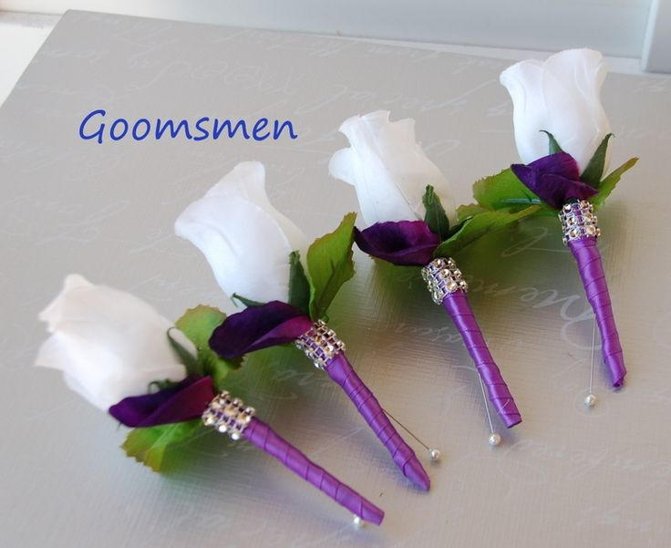 Mother Of Bride Ivory And Purple Rose Wrist Corsages