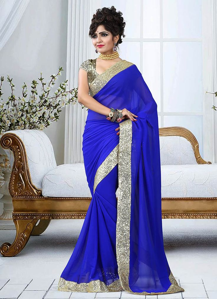 Buy Royal Blue Georgette Saree online from the wide collection of Sari. This Blue Saree in Faux Georgette goes well with any occasion. Shop online for Wide range of silk sarees, cotton sarees, wedding saris  &  more at Cbazaar.com