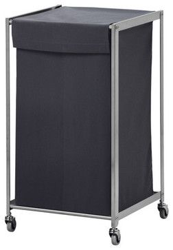 GRUNDTAL Laundry bin with casters modern-hampers