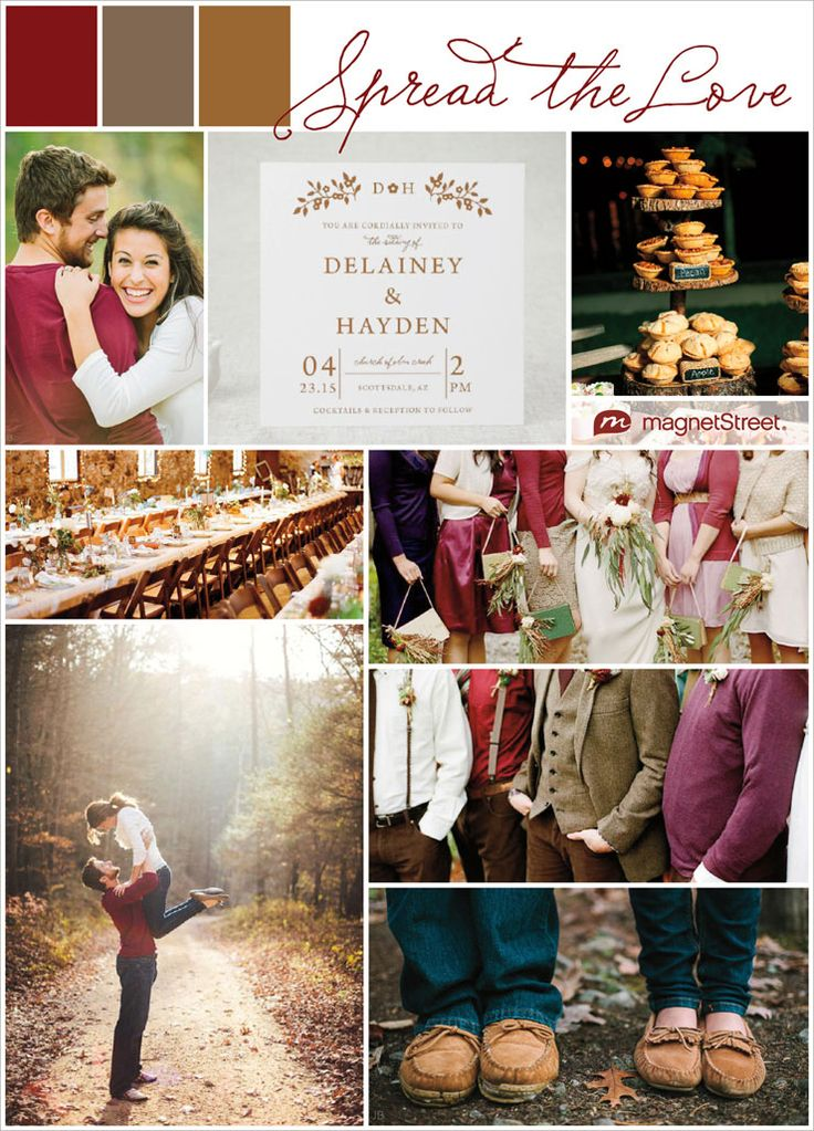 Color Monday: Casual Fall Wedding Ideas, maroon, brown, chocolate