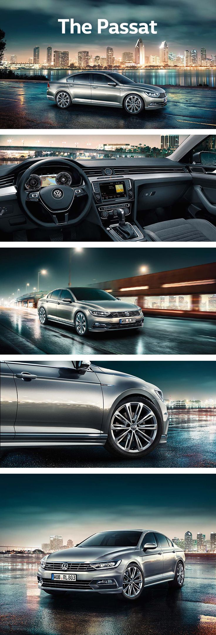 The new Passat is ideal for both family and business, as it offers a lot of space and numerous optional state-of-the-art assistance systems. Clear lines and high-quality materials, an extended wheelbase, chrome radiator grille and more lend the Volkswagen Passat stylish elegance. With the optional Active Info Display, the instrument cluster comes with a choice of various profiles to provide customised information in the driver's direct field of vision.