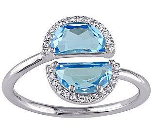2.35 cttw Blue Topaz & Diamond Accent Ring, 1 4K White Gold